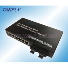 10 / 100m FX de 2 portas + comutador de fibra Tp de 6 portas