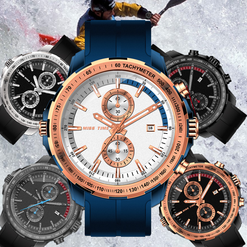 sport men watch chronograph quartz watch silicone belt