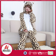 leopard grain bear coral fleece women animal bathrobe