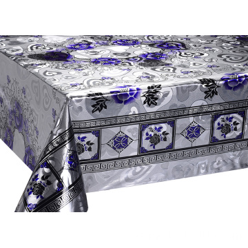 Doble cara en relieve estampado oro mantel azul
