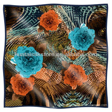 Multicolor Flower Design bufanda de seda al por mayor turca