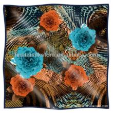 Multicolor Flower Design foulard de soie en gros turc