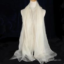 Lenço reversível de lã de dupla camada sem borlas