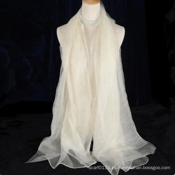 Bufanda reversible de seda de lana de doble capa sin borlas