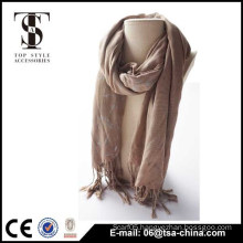super soft 2015 Lady gilding long shawl neck coffee color 100% viscose scarf