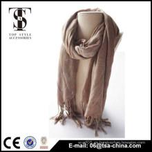 Señora 2015 suave estupenda que doraba la bufanda larga viscosa del color 100% del café del cuello del mantón