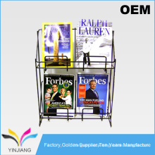 OEM design Professional black metal wire pocket magazine brochures display rack