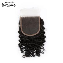 Top qualité sans processus chimique brut malaisien vierge cheveux vague profonde fermeture de dentelle humaine