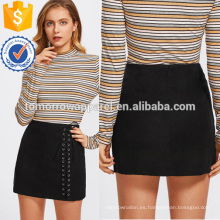 Grommet Lace Up Detail Skirt Manufacture Wholesale Fashion Mujeres Ropa (TA3069S)