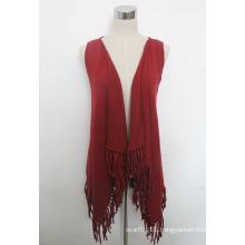 Lady Fashion Cotton Knitted Fringe Shawl Vest (YKY4428)