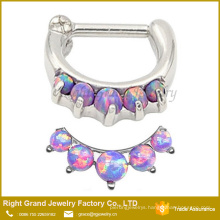 Purple Synthetic Opal Stainless Steel Clicker Nose Ring Jewelry
