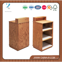 Oak Checkout Stand with Two Adjustable Shelf