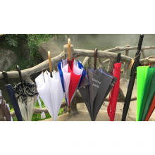 Top quality colorful new fashion design wooden frame and wooden J-shape handle umbrella with logo prints