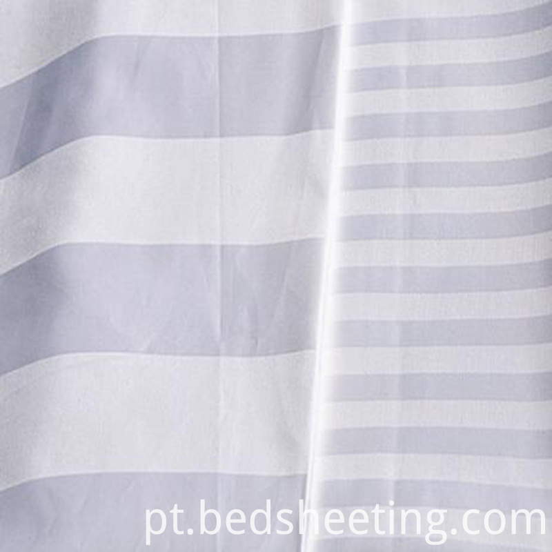 White Cotton Sateen Stripe Fabric 300t