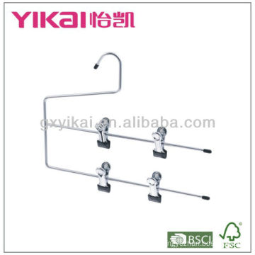 Chrome plated metal skirt hanger with 2 tires of clips