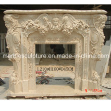 Beige Carved Marble Fireplace (SY-MF040)