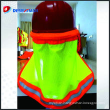 Hi-vis safety helmet neck shade hi vis reflective stripe sun shade for hard hat