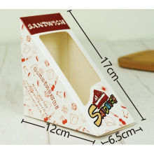 Caixa de embalagem de sanduíche de janela triangular