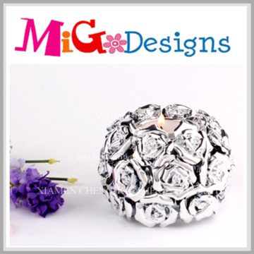 Novelty Silver Ceramic Handmade Flower Shaped Decorative Candle Holder