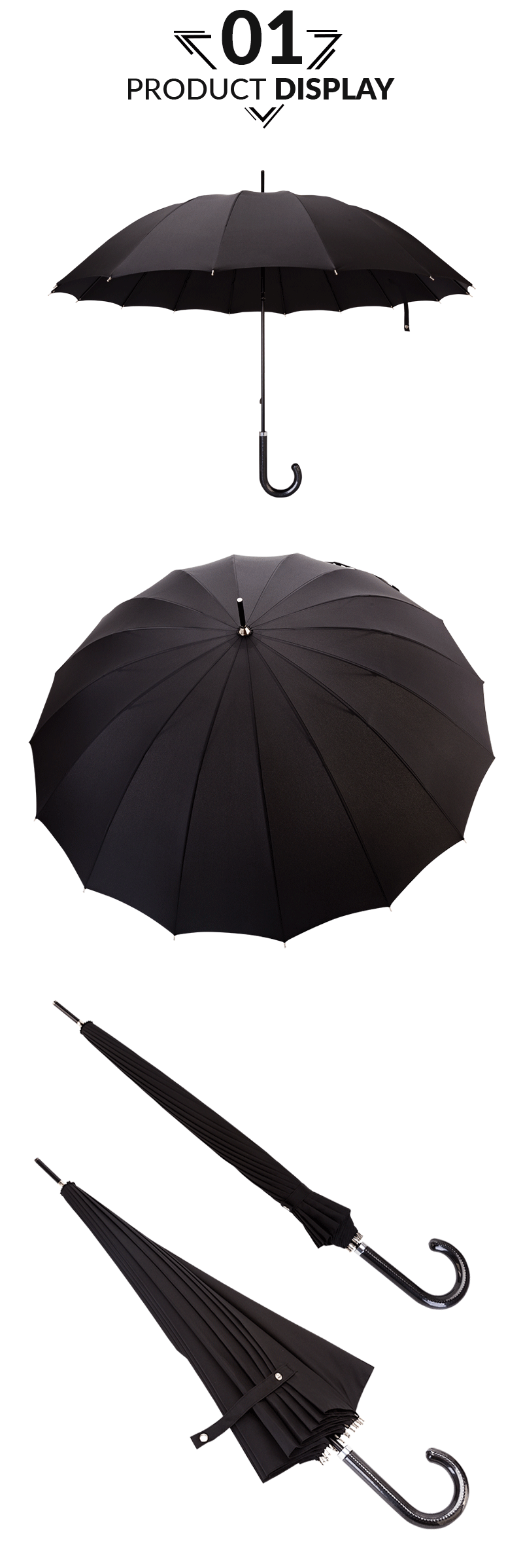 60cm 16 Ribs Hand Open Straight Umbrella