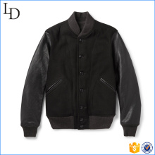 2017 new style wool leather varisty letterman jacket windproof baseball jacket