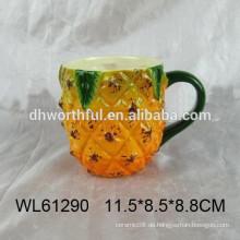 Heißer Verkauf keramischer Becher mit Ananasentwurf