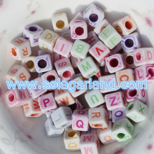 6X6MM Assorted Colors Alphabet Letter Square Cube Beads