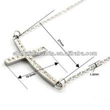 Alta Qualidade Sideway CZ pedra cruz pingente colar de aço inoxidável prata cadeia colar para as mulheres