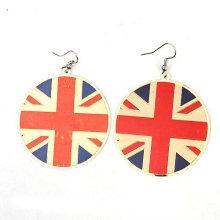 2013 Pendientes BRITÁNICOS del aro de la joyería del pendiente de la bandera del estilo de la manera FE02
