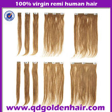 2014 Golden Hair Best Selling 220g Remy Clip in Hair Extension