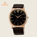 Relógio de homens de faixa de couro preto clássico mostrador preto 72279
