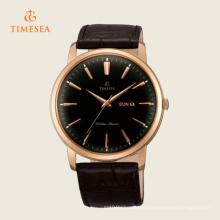 Reloj clásico de hombre con correa de cuero negro Dial Black 72279