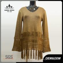 Women Fringe Hem Classy Knitted Sweater