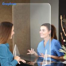 acrylic desk partition plexiglass barrier panel sneeze guard for nail technician