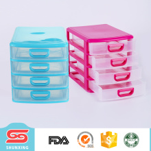 Hot selling plastic A4 size 4 layers drawer file cabinet for office