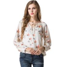 Chegada nova senhoras chiffon blusas design elegante mangas compridas impressão blusa mulheres