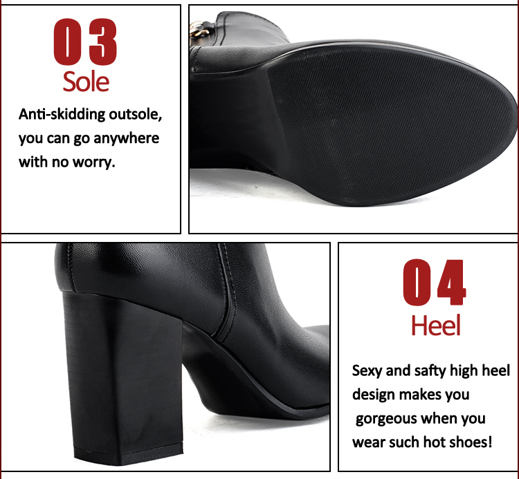 Metal fasteners black leather short ankle boots