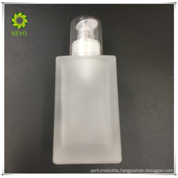 120ml new products cosmetic container square clear glass bottle with pump cap