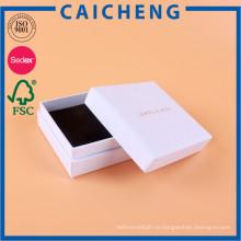 Изготовленный на заказ коробка подарка картона белая бумага с губкой фланель