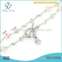 Collier design 316l en acier inoxydable pour femmes, types de chaînes en argent