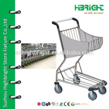 chrome plated steel airport shopping trolley without brake