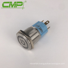 16mm On/Off 12v Blue LED Light Push Button Metal Power Switch