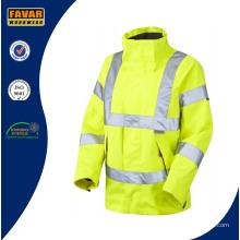 Hi Vis Reflektierende Sicherheit Breathable Wasserdichte Jacke in Gelb / Orange