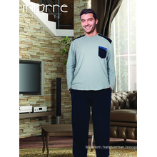 Miorre Wholesale Men's Long Sleeve Big Size Cotton Pajamas Set