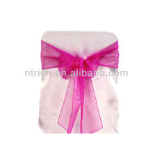 fuchsia, fancy vogue crystal organza chair sash tie back,bow tie,knot,wedding chair cover and table cloth