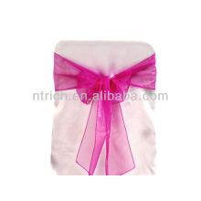 fúcsia, faixa de cadeira de organza de cristal moda chique gravata, gravata borboleta, nó, pano de tampa e mesa de cadeira de casamento