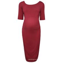 Kate Kasin mujeres cómodas media manga cuello del equipo de color rojo oscuro algodón maternidad vestido de fiesta de verano KK000502-1