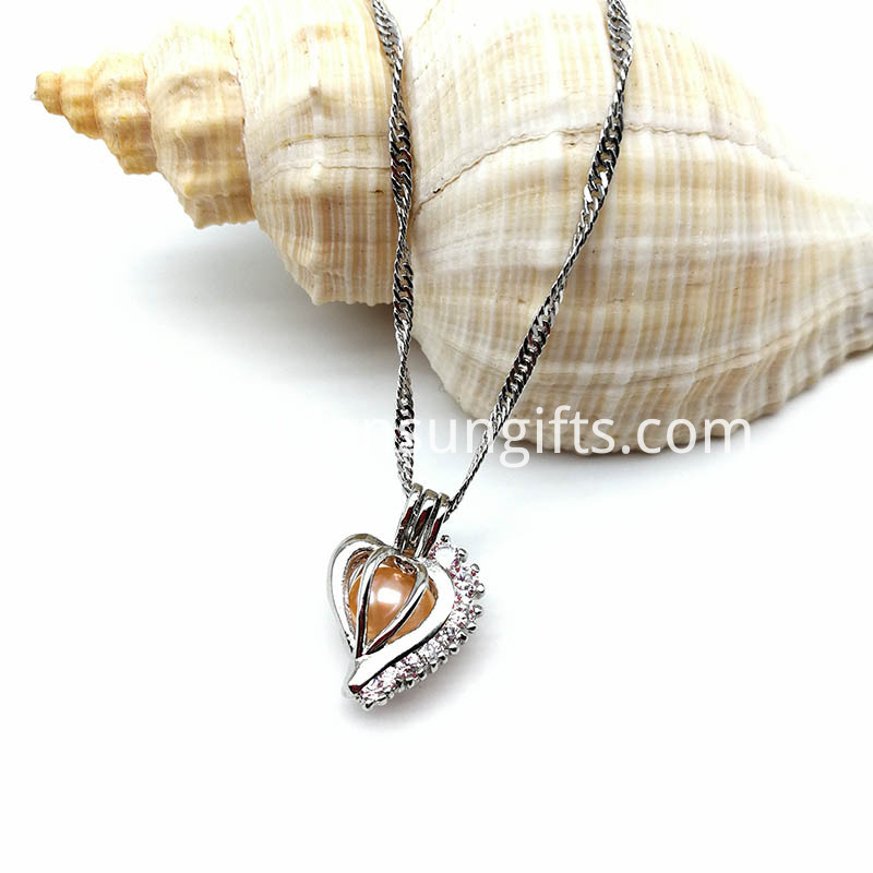 Heart With Zircon Silver Plated Necklace
