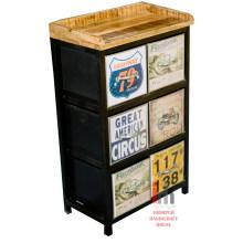 Wood top iron black metal 6 drawers cabinet