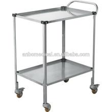 Chariot de dressage en acier inoxydable utilisé pour la clinique ou l'infirmière avec poignée